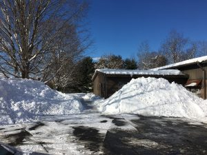 Snowbanks in front of the SmallCorp World Headquarters